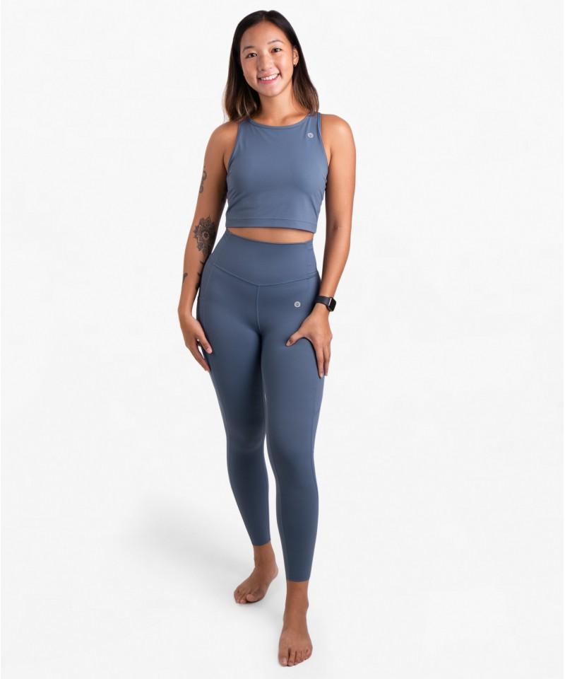跳脫舒適圈-高腰25吋 - 運動長褲・粉灰寶貝藍