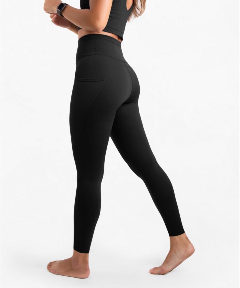 跳脫舒適圈-高腰25吋 - 運動長褲・黑