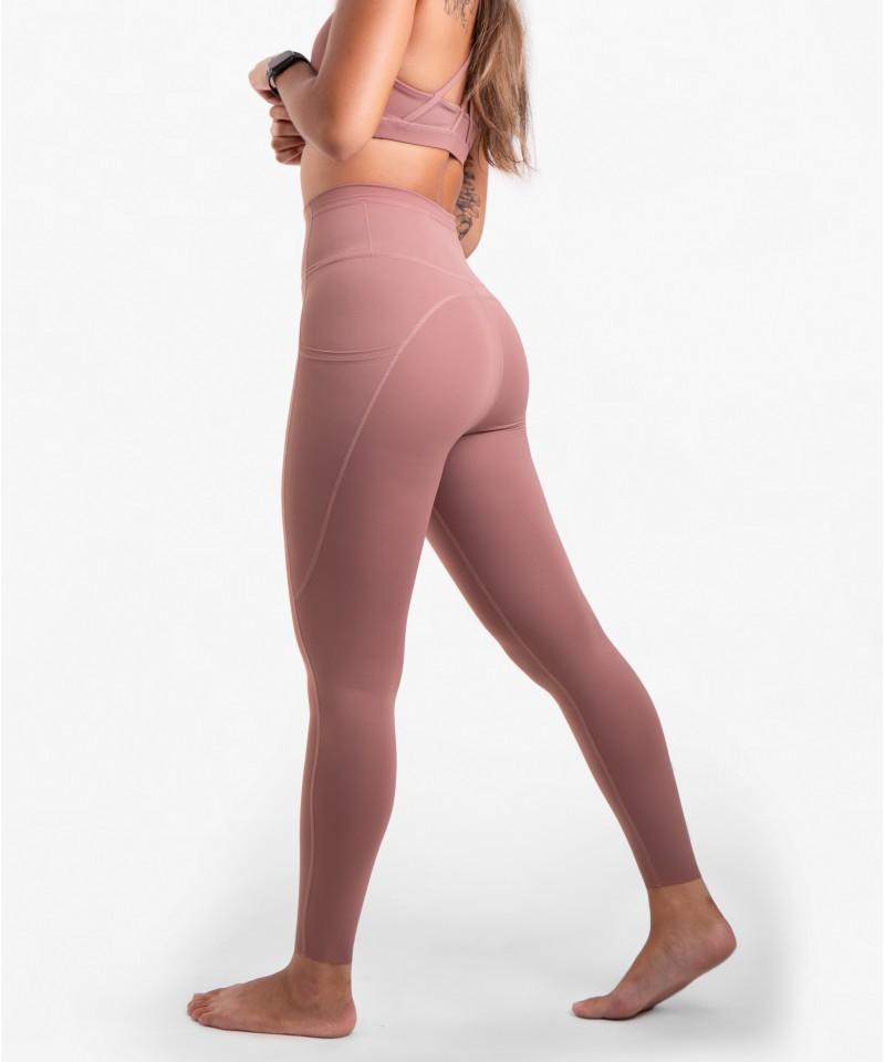 跳脫舒適圈-高腰25吋 - 運動長褲・粉紅氣泡酒